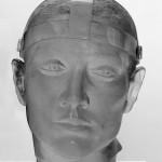 Tête d'homme au casque, Sculpture de Mauro Corda réf. 050407. épreuve 1/1. 03/2005 dimensions 30x30x42 cm